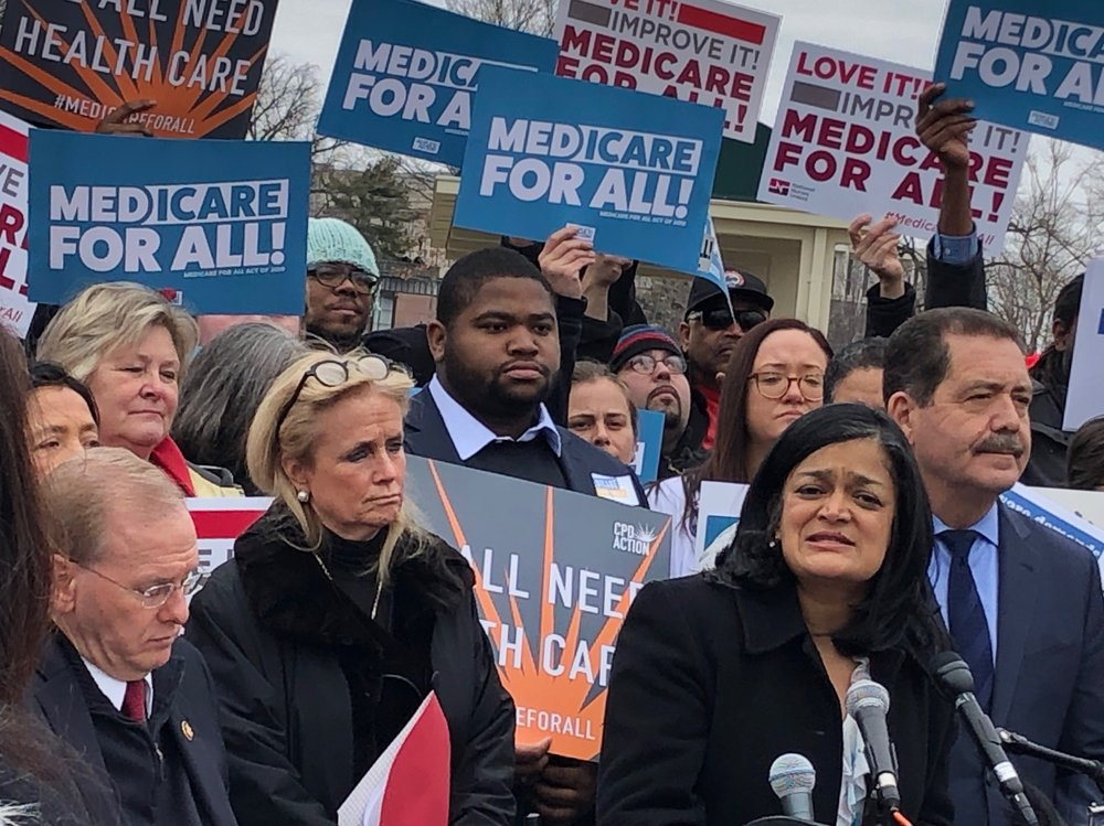 Congresswoman Jayapal and Congresswoman Dingell introducing the Medicare for All Act of 2019.