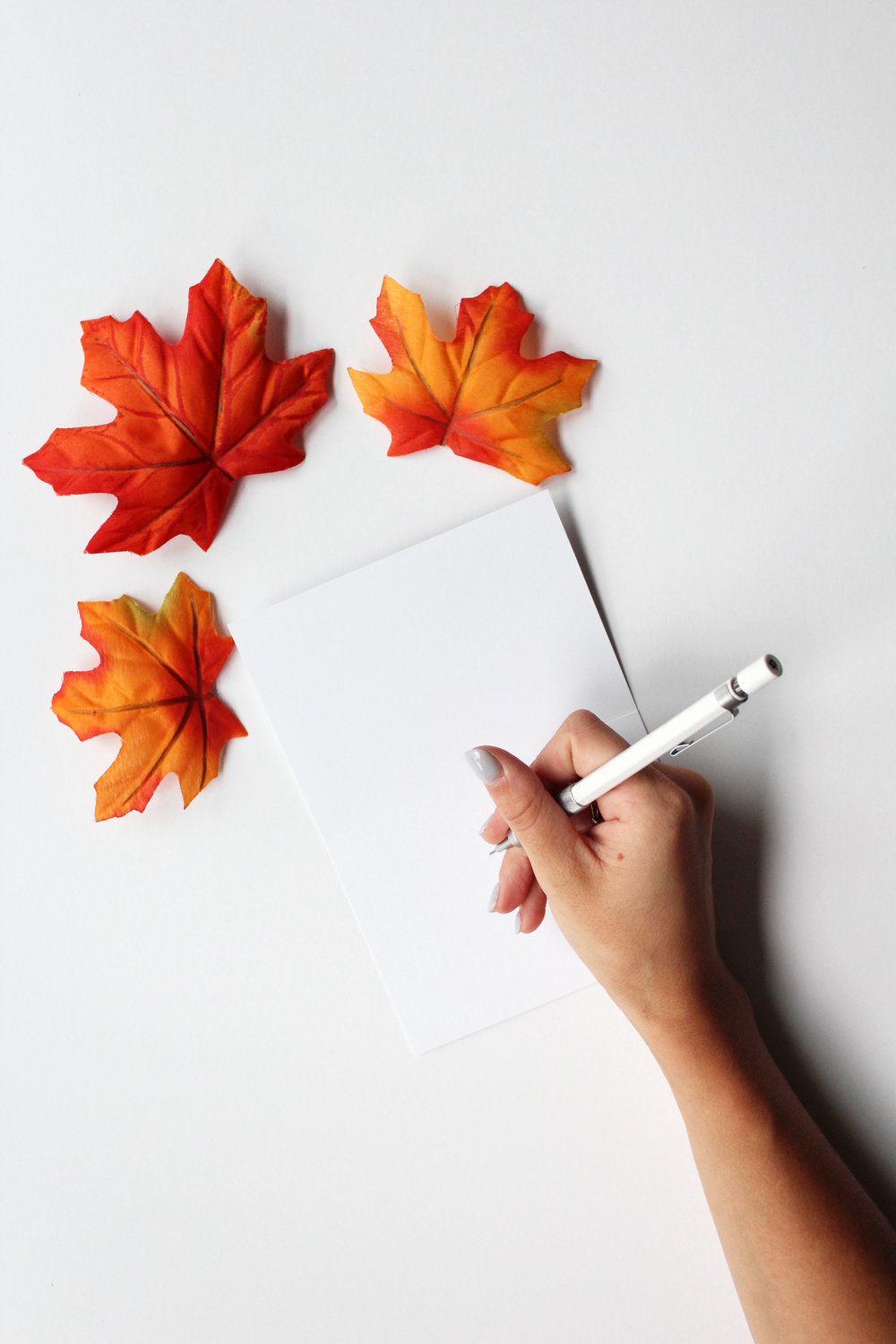 writing with fall leaves