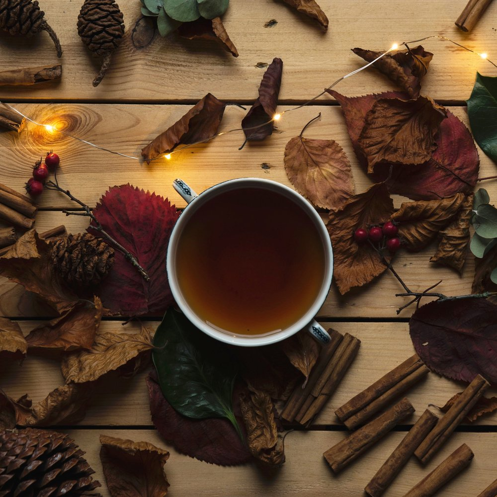tea with lights and leaves