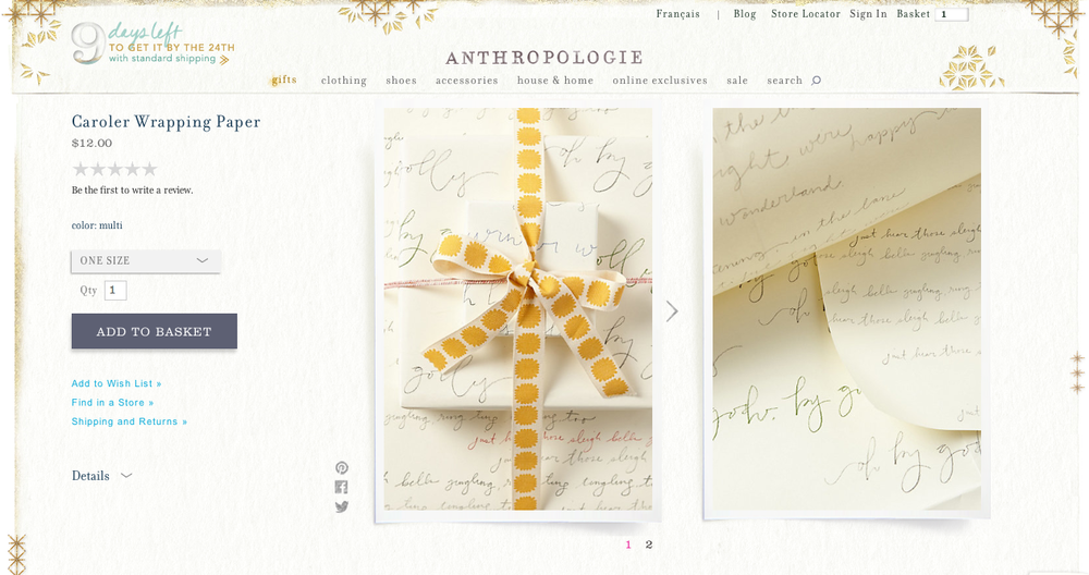 Anthropologie Holiday Gift Wrap-Handwriting