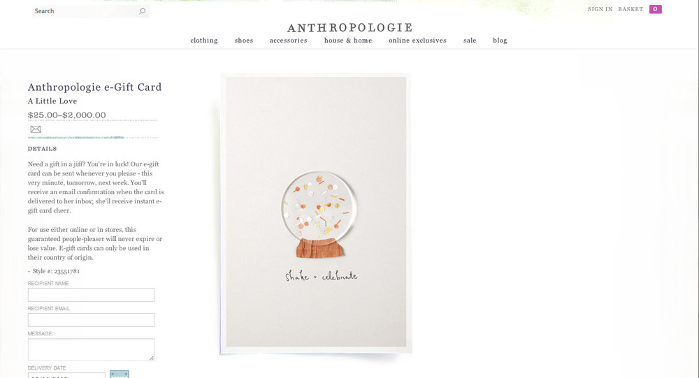 Anthropologie E-Gift Card Design