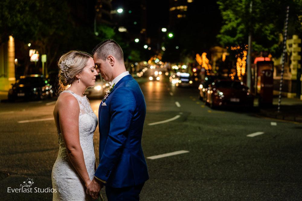 Night wedding photography Brisbane City