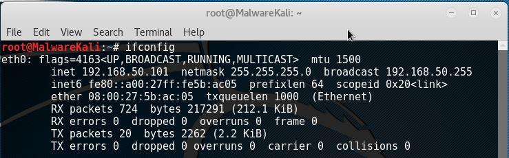 Kali Linux Ifconfig