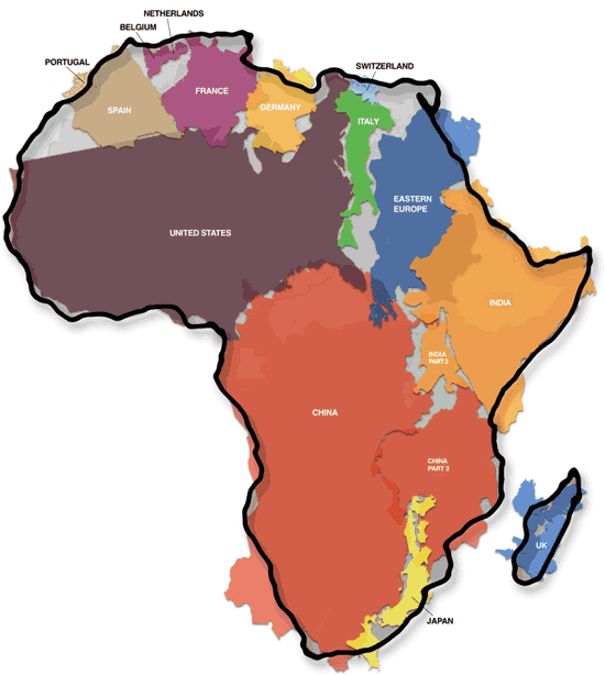 TO combat rampant 'immappancy' AND RACIST PROPAGANDA CHECK OUT  THE TRUE SIZE OF AFRICA