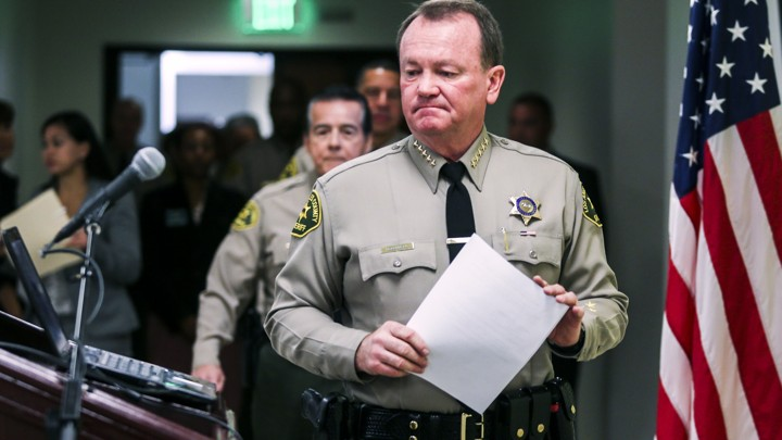 FREEDOM OF MOVEMENT, RIGHT TO TRAVEL, 4TH AMENDMENT RIGHT TO BE FREE FROM UNLAWFUL DETENTIONS, SEARCHES & STOPS IS A JOKE FOR NON-WHITES. Above RACIST SUSPECT Los Angeles County Sheriff Jim McDonnell. WITH    crime down    in la county THE TRUE NATURE OF POLICE WORK CAN BE REVEALED FOR THOSE WHO HAVE EYES TO SEE. IN PHOTO, MCDONNELL SPEAKS AT A PRESS CONFERENCE AFTER HIS CHIEF OF STAFF, A high-ranking Los Angeles County Sheriff's official, resigned WHEN emails were discovered in which he made racist and crude comments about Muslims, blacks, Latinos, and women IN 2016.[   MORE   ]