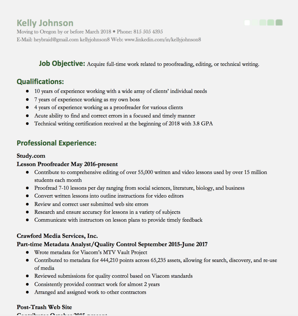 Rsum Technical Writing Portfolio Kelly Johnson