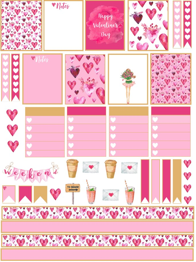 photo about Valentine Stickers Printable titled Cost-free Valentines Working day Planner Stickers - Printable Down load