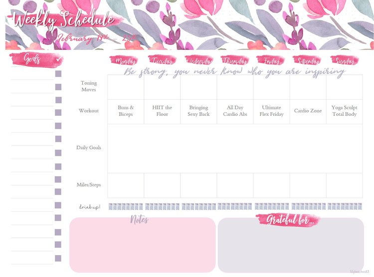 Weekly Workout Planner Fitness Toneitup Printable Lilybeaches83
