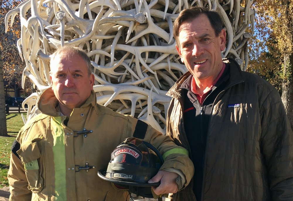 Jackson Hole Professional Firefighters President John Tobey (left) with Luther Propst (right).