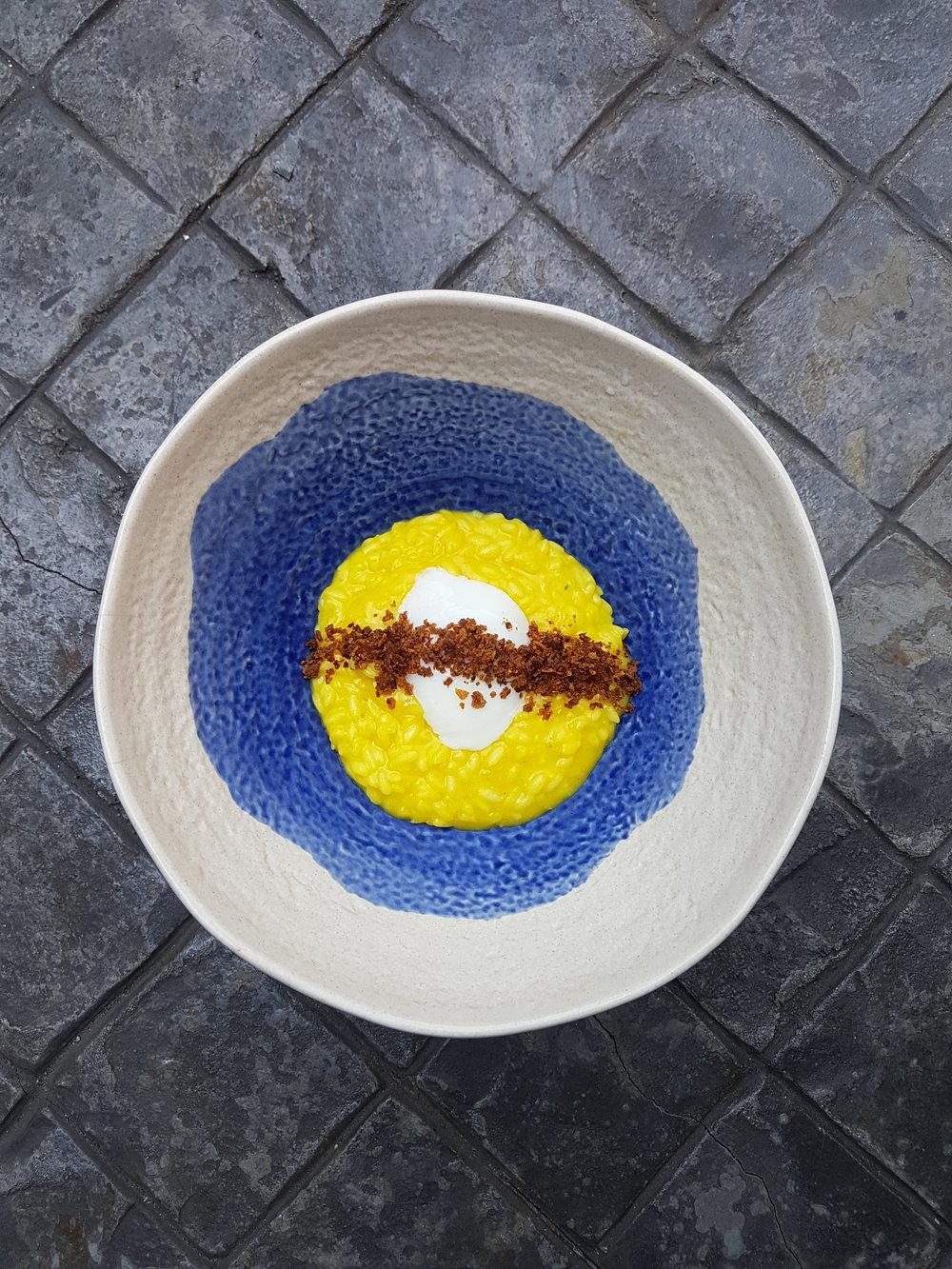 RISOTTO ALLO ZAFFERANO E UOVO | Saffron Risotto, slow-cooked egg & crispy pancetta