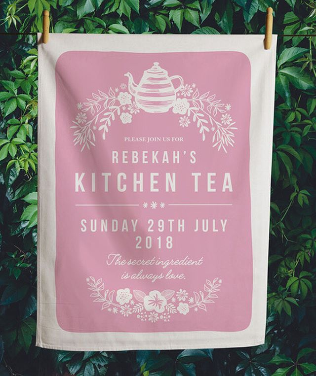 Loved working on this Kitchen Tea invitation for Rebekah. Such pretty colours. Such a great keepsake for guests. 🥂  #kitchentea #teatowel #teatowelinvitations #kitchenteainvitation #invitationdesign