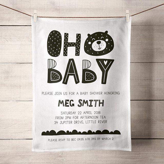 Oh Baby 👶🏼 Baby Shower Tea Towels are the sweetest keepsake. ❤️ #invitationteatowels #babyshower #babyshowerinvitations #babyshowerinvites #teatowel