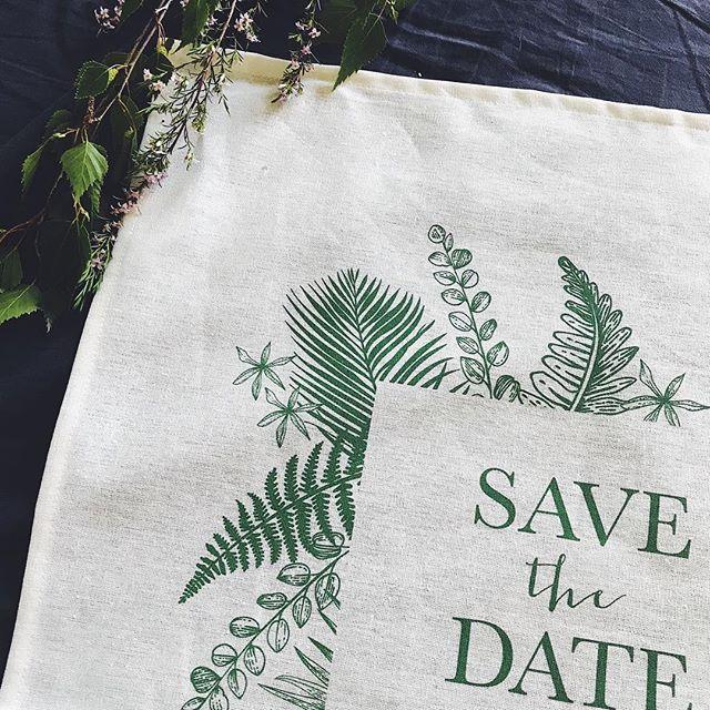 Greenery and foliage inspired Save the Date tea towels. 🌿 #weddinginvitations #invitationteatowels #savethedate #weddingstationery #uniquewedding