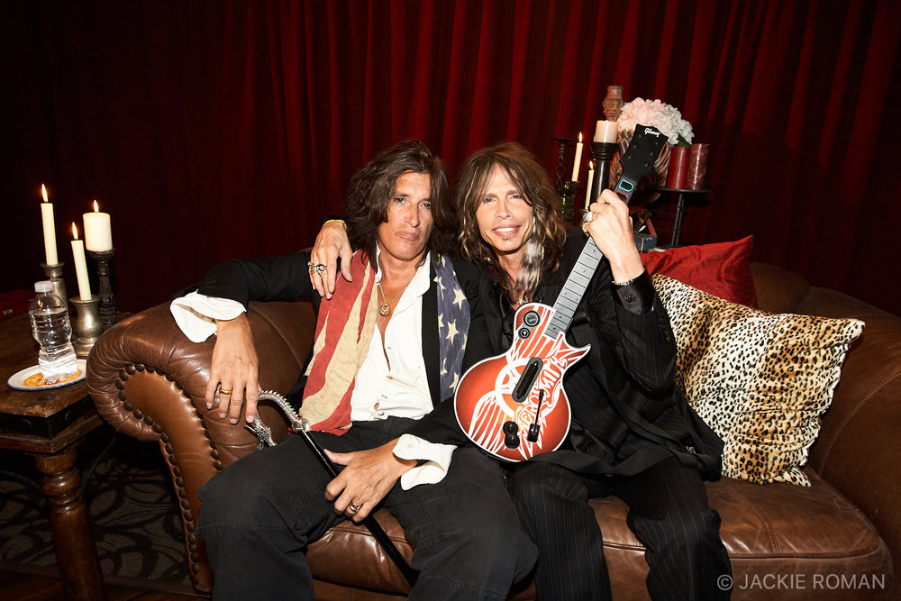 Joe Perry and Steven Tyler in the green room at  The Hard Rock Cafe in New York, NY during the  launch of Guitar Hero: Aerosmith on June 27th, 2008.