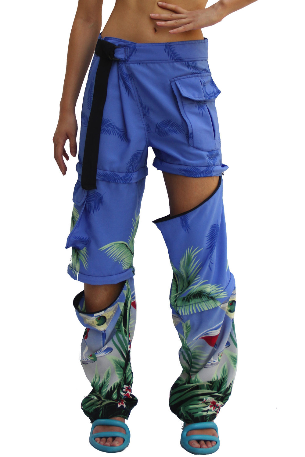 BLUE COCKTAIL DOUBLE ZIP PANT - $195
