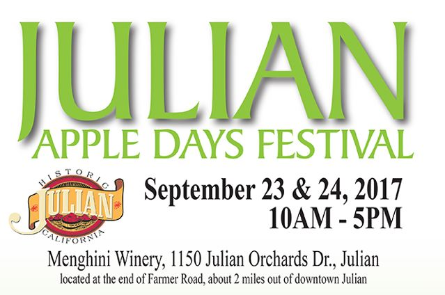 - Apples are such a big thing up here, they even have their own weekend! Julian Apple Days Festival has grown over the years, and is now the talk of the town! The festival is filled with apples (duh), foods, games, activities, and even a Mr. & Mrs. Apple King & Queen, who get crowned at the festival! This upcoming weekend (9/23-9/24) is when you can catch all the fun at the annual festival!