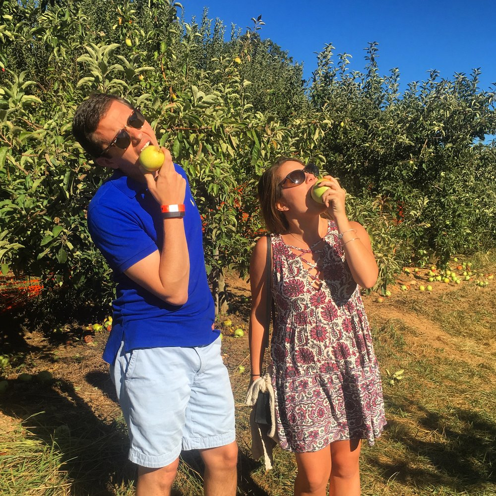 Cousin Matt and I eating apples right off the tree (opps, totally wasn't supposed to do that)