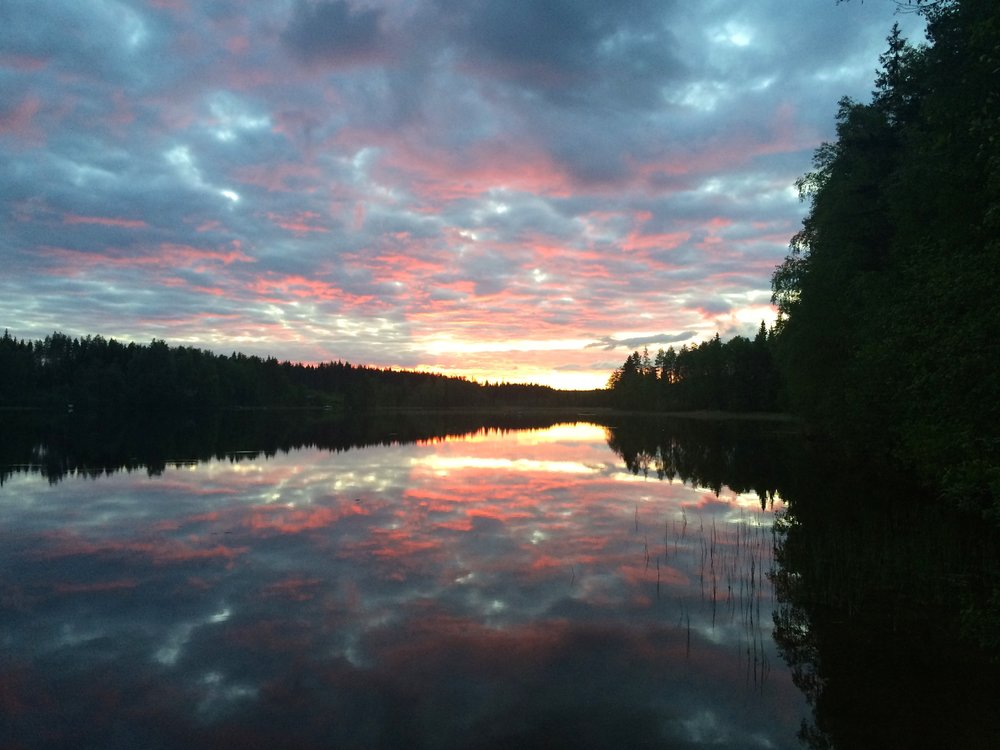 Beautiful Finnish nature summer sunset