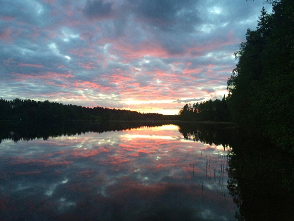 Beautiful Finnish nature summer sunset