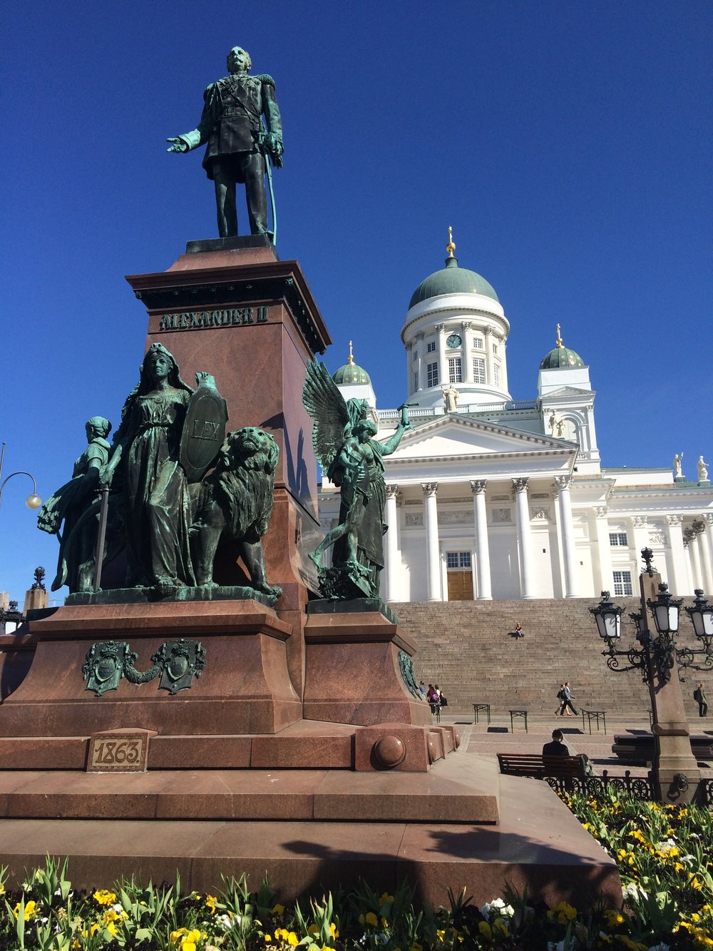 Monument of Russian tsar Alexander II in Senate Square in Helsinki.