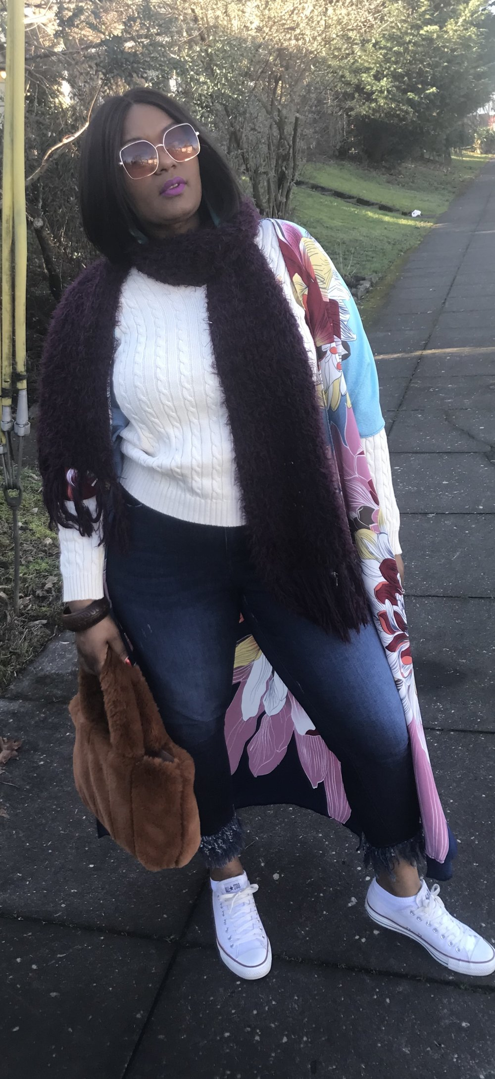 Extend your wardrobe - Add a medium weight sweater, warm scarf to a fun pair of jeans.  Jeans with ankle interest are on trend.  My go to for medium weight sweaters is Lauren by Ralph Lauren. This jeans are from Lane Bryant you can find them here
