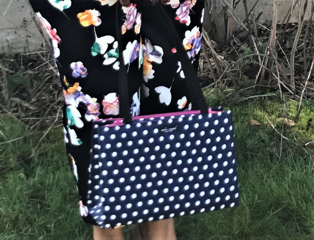 KateSpade: - This designer is my go to for spring and summer handbags fun and whimsical this one is from some seasons ago but go to their website to see what goodies they have now