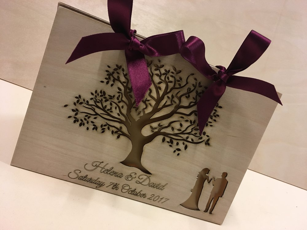 Beautiful custom wedding card for and outdoor wedding.