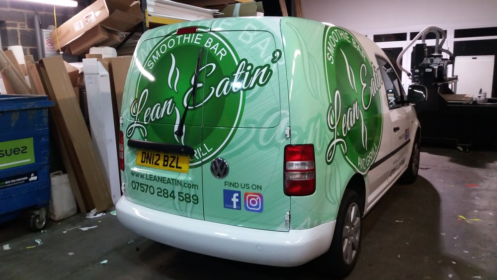 LEAN EATIN SMOOTHIE BAR   The effective use of a half vehicle wrap along with side vinyl lettering, social media icons and a bonnet logo.