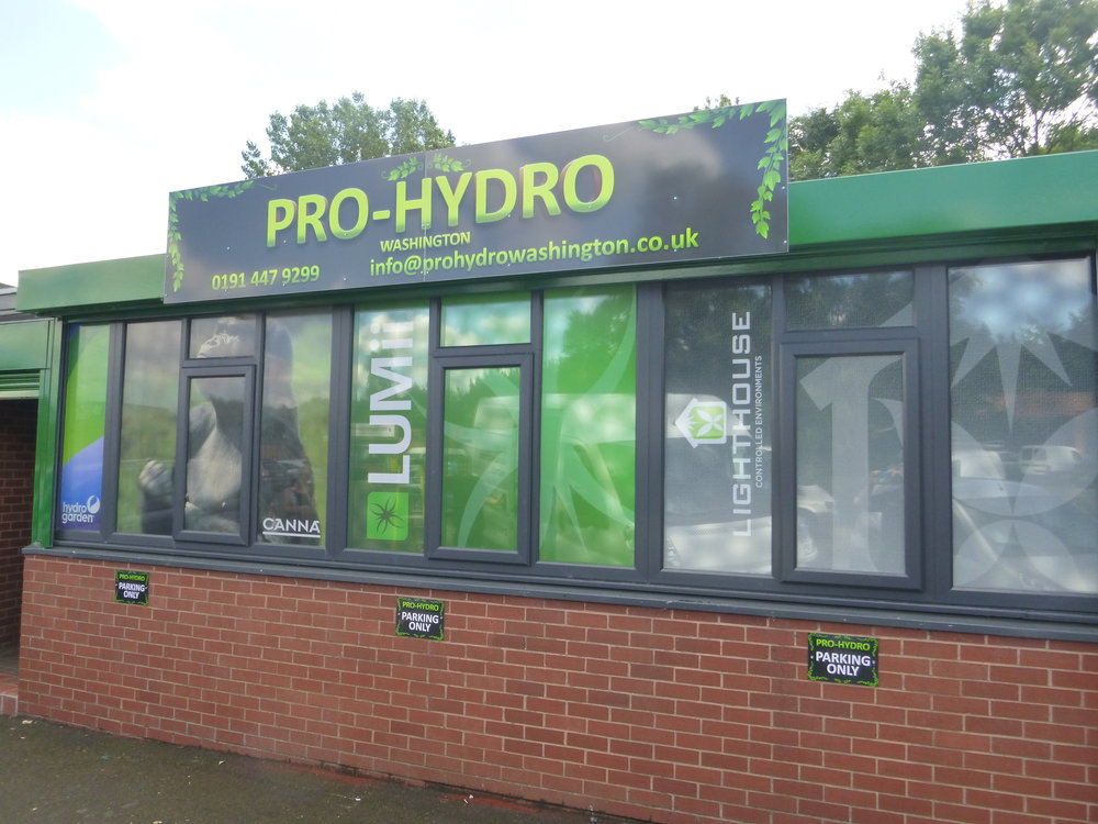 PRO-HYDRO   Digitally printed window graphics, installed internally.