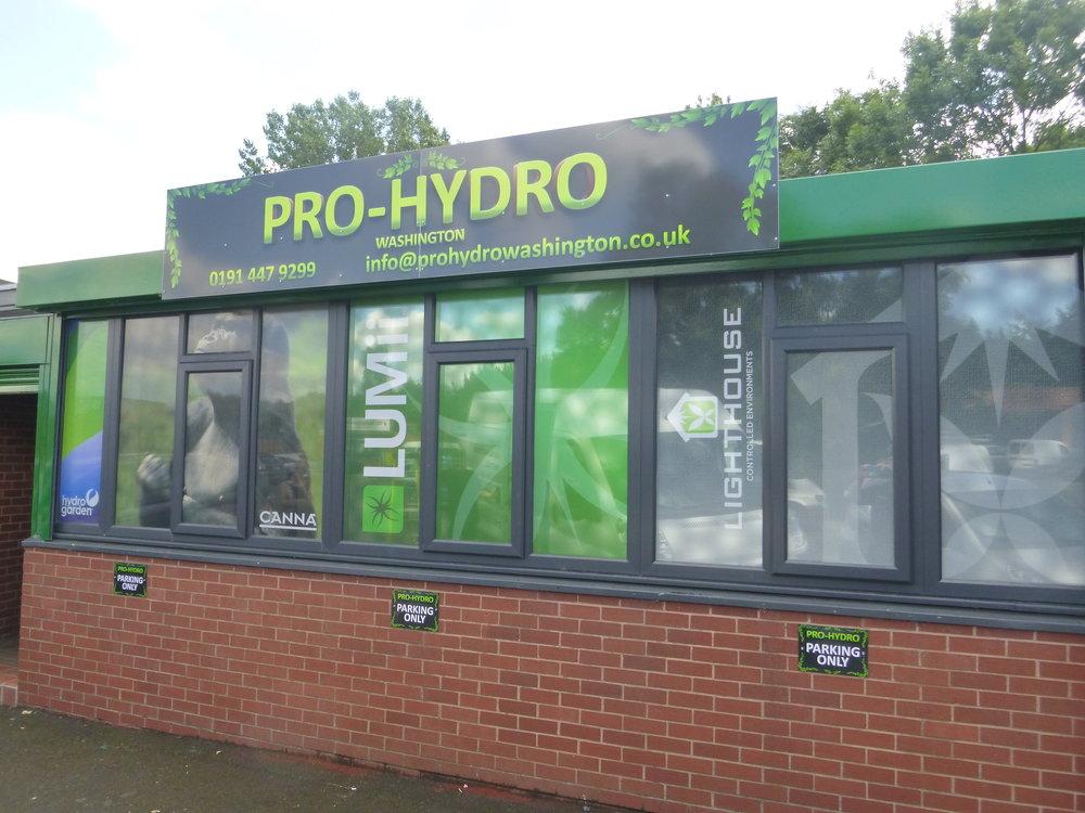 PRO-HYDRO   Digitally printed window graphics, installed internally.