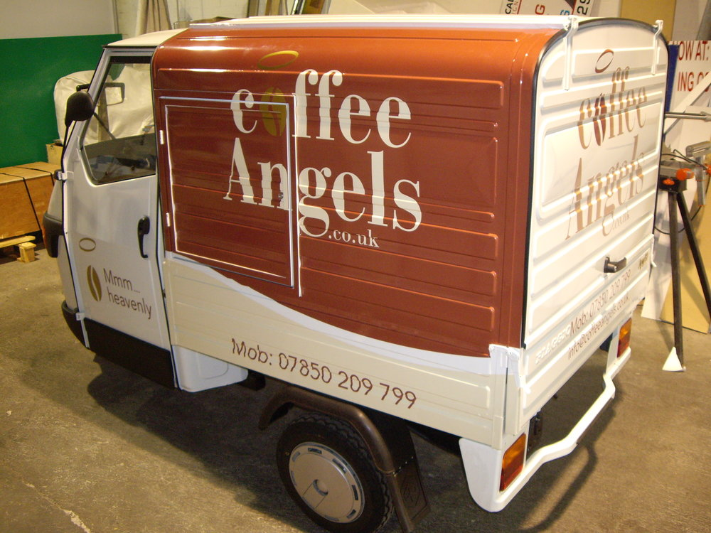 COFFEE ANGELS   Full wrap on both sides with the addition of vinyl .