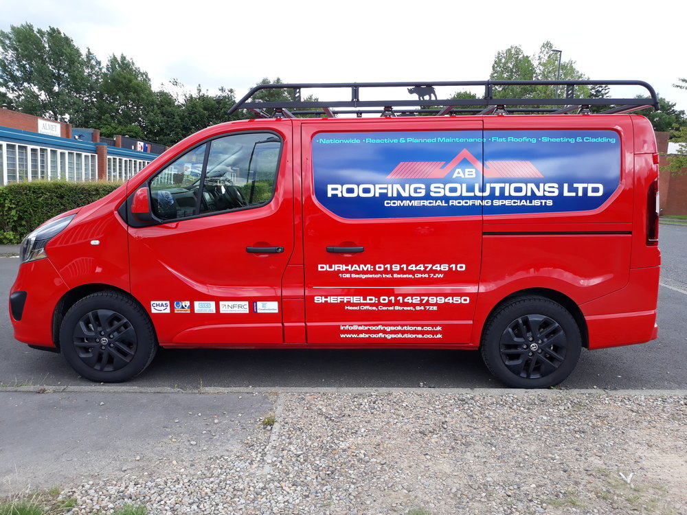 AB ROOFING SOLUTIONS   An effective panel job on both sides and the rear with the additions of vinyl and supplier logos.