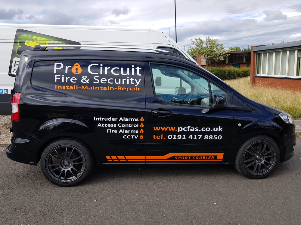 PRO CIRCUIT FIRE AND SECURITY   The simple but effective use of vinyl.
