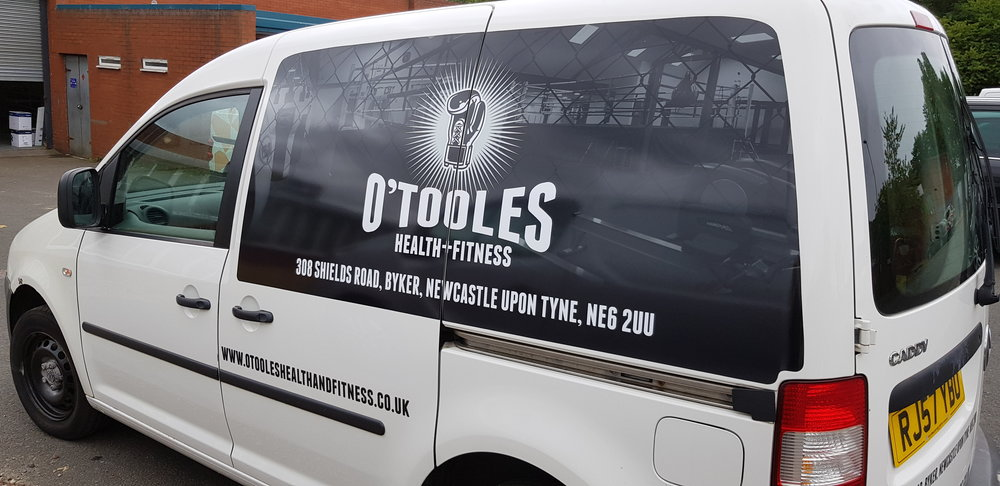 O'TOOLES HEALTH & FITNESS   Panel job on both sides and logo on bonnet.