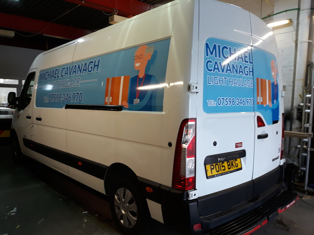 MICHAEL CAVANAGH LIGHT HAULAGE   Standard panel job on a long wheelbase van.