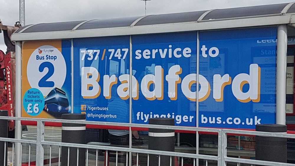 ARRIVA LEEDS BRADFORD AIRPORT   Large format digitally printed window graphics.