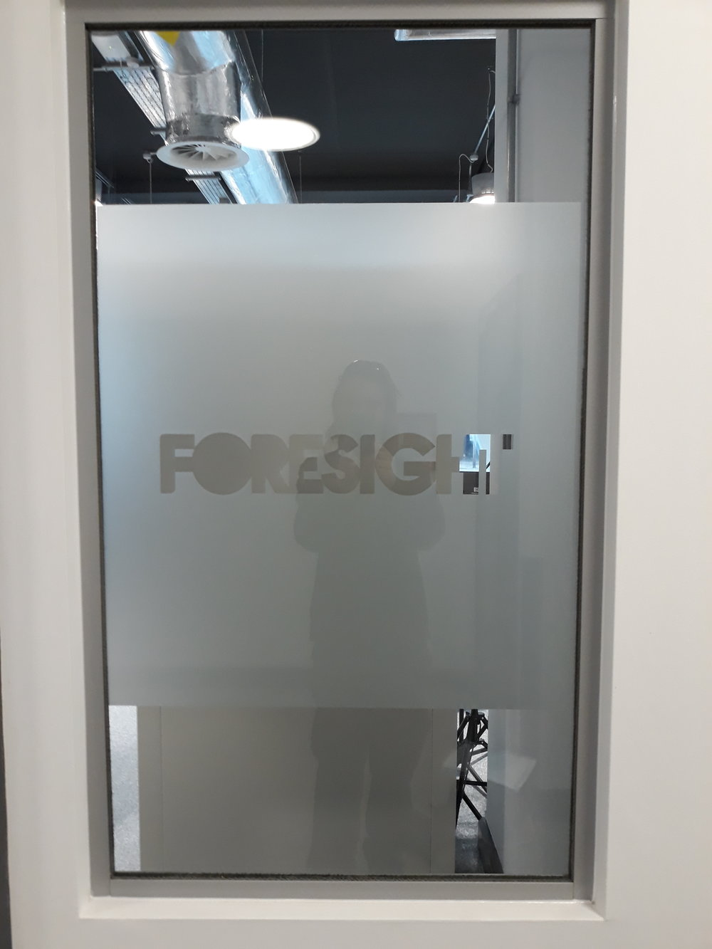 FORESIGHT   Internally fitted frosted window graphics.