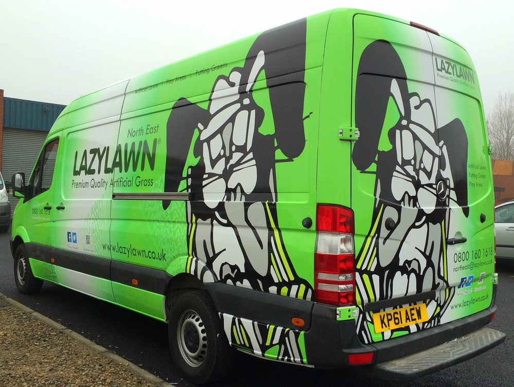 LAZYLAWN   Full wrap on a long wheelbase van.