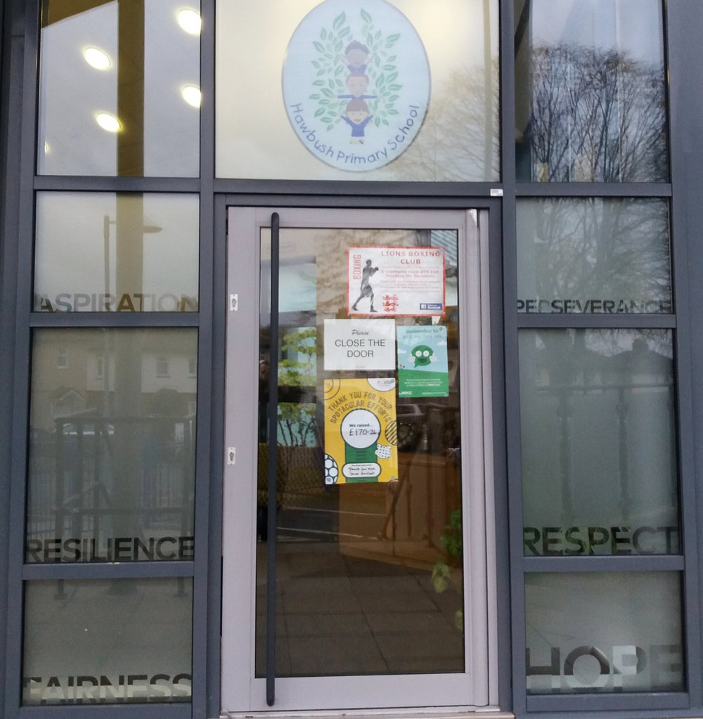 HAWBUSH PRIMARY SCHOOL   Frosted window graphics.