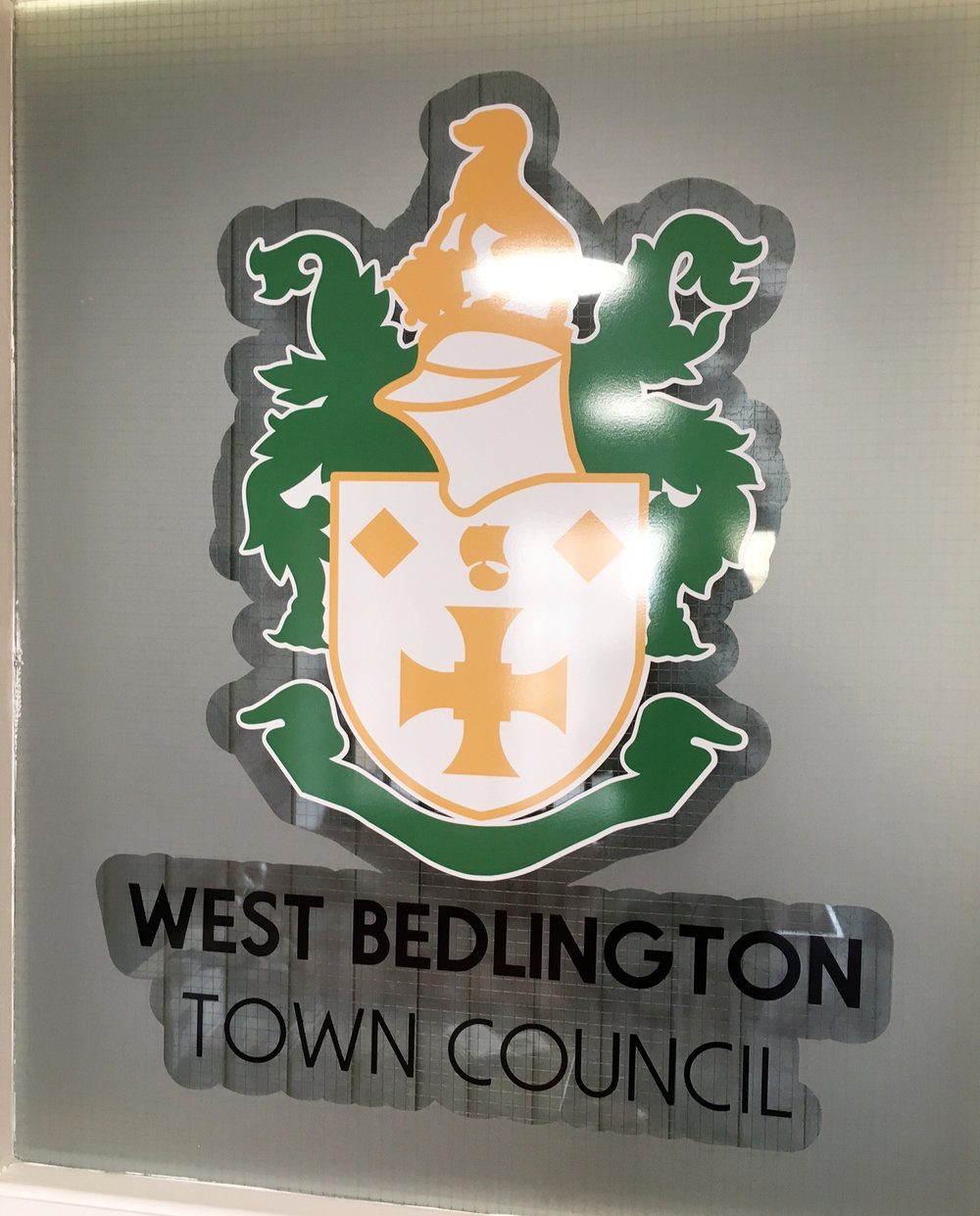 WEST BEDLINGTON TOWN COUNCIL   Frosted window graphics with black vinyl and a print and cut logo all fitted internally.