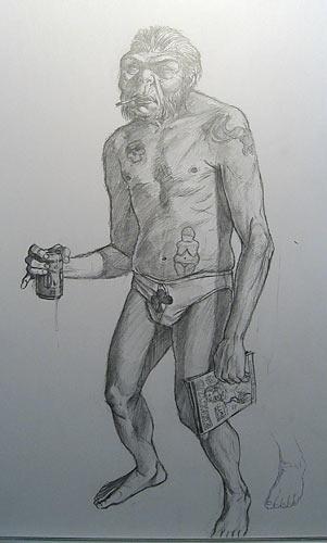 Erectus, kuvittaja / illustrator Ossi Hiekkala