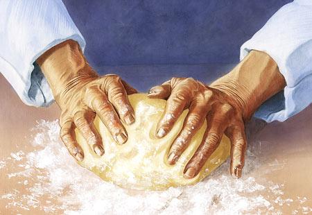 Leipurin kädet, kuvittaja / illustrator Ossi Hiekkala