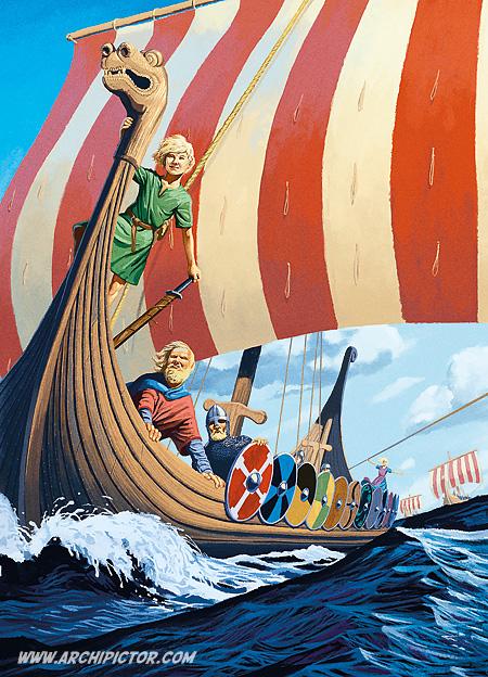 Viikinkipoika Kaspar, kuvittaja / illustrator Ossi Hiekkala 2010