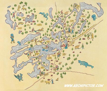 Lohjan keskiaikainen kartta, kuvittaja / Illustrator Ossi Hiekkala 2010