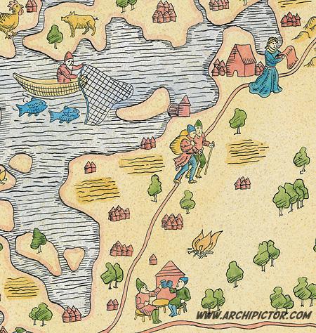 Lohjan keskiaikainen kartta (yksityiskohta), kuvittaja / Illustrator Ossi Hiekkala 2010