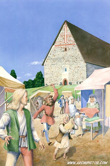 Lohjan markkinat, kuvittaja / illustrator Ossi Hiekkala 2011