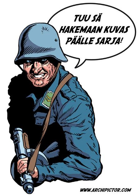 Sotasarjakuvat, kuvittaja / illustrator Ossi Hiekkala 2011