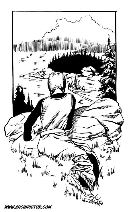 Viikinkinainen, kuvittaja / illustrator Ossi Hiekkala n. 2002