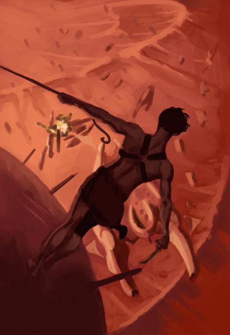 Marsin jumalat - väriluonnos, kuvittaja / illustrator Ossi Hiekkala 2011