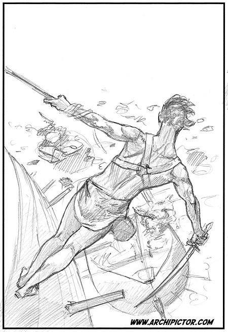 Marsin jumalat - luonnos 2, kuvittaja / illustrator Ossi Hiekkala 2011